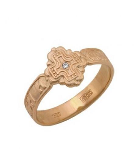 Кольцо Спаси и Сохрани золото 585 проба с фианитом АЛМ-02
