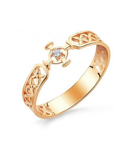 Кольцо православное из золота 585 пробы с фианитом АЛМ-06