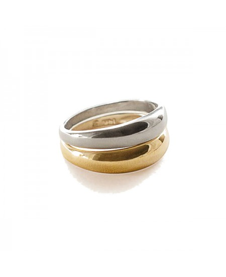 Kinn studio Double Dare To Love Dome Ring (Gold & Silver) rg-kinn28