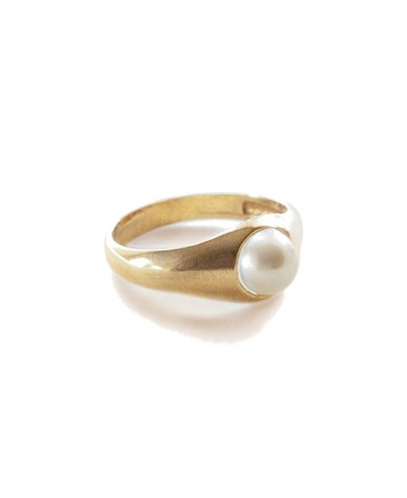 Kinn studio Pearl Signet Ring rg-kinn16